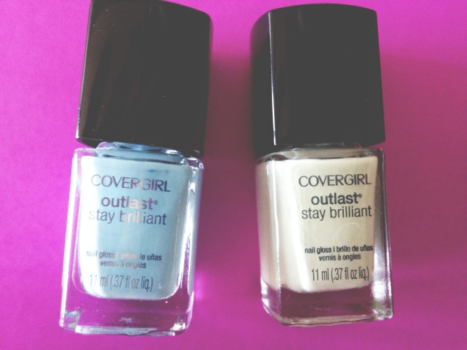 "(R-L) Blue shade is ""Skylight"" and Mint Green is ""Salt Water Taffy"""